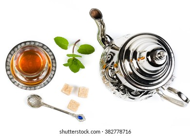 Traditional Arabic mint tea on white backgroun