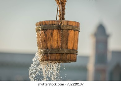 A traditional Arabic Pulley Water Well Bucket.