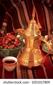 Traditional Arabic Ramadan setup for coffee with dates