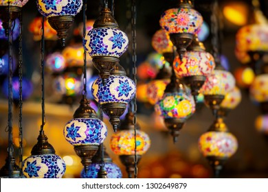 Traditional arabic vibrant lamps in various colors. Souk district Dubai