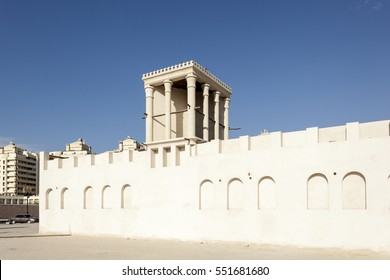 Traditional arabic wind tower in the old town of Sharjah, United Arab Emirates