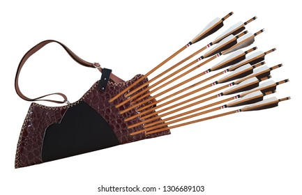 Traditional Archery Black Wooden Leather Quiver Arrow Horse Bow Turkish in White Isolated Background