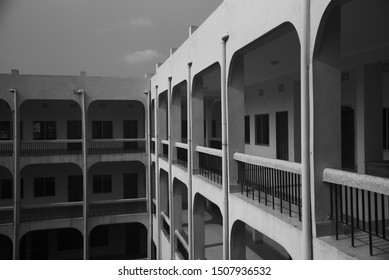 A traditional architectural building black and white photo