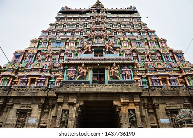 """""""Traditional architectural style of South Indian temple towers - Eastern Gopuram or tower of Thillai Nataraja temple at Chidambaram, Tamilnadu"""""""