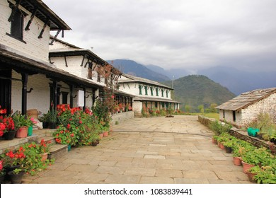Traditional architecture in Ghandruk, Annapurna Conservation Area, Nepal. Flowers in front of a row old houses.