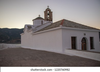 Traditional Architecture of the Greek Islands - Sunrise at Christian Orthodox Church at Skopelos Greece / Panagitsa Tou Pirgou