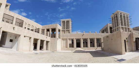 Traditional architecture located in front of the Creek in old Deira district. Dubai, United Arab Emirates 2016.