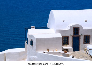 Traditional architecture of Oia village on Santorini island