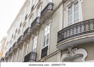 Traditional architecture on historic building facade in old town of Las Palmas city, Gran Canaria. Real estate, looking for apartment rent, buy, for sale