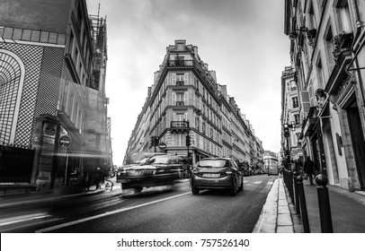 Traditional architecture of residential buildings. Black-white photo. Paris - France.