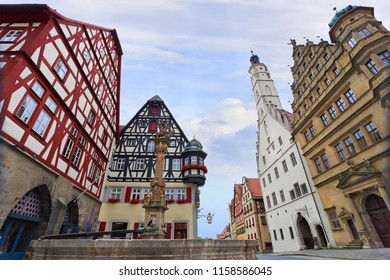 Traditional architecture in Rothenburg ob der Tauber, Central Franconia, Bavaria, Germany