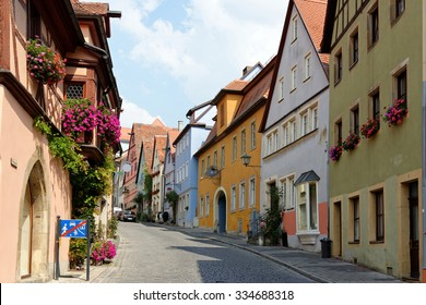Traditional architecture in Rothenburg ob der Tauber in Germany. It is one of the best-preserved medieval towns in Europe, part of the famous Romantic Road tourist route.