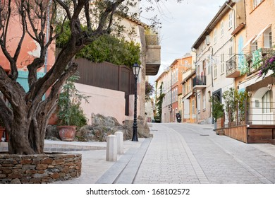Traditional architecture in the streets of Saint Tropez mediterranean town, Provence, France