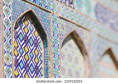 Traditional architecture in Uzbekistan. Uzbekistan ethnic ornament.