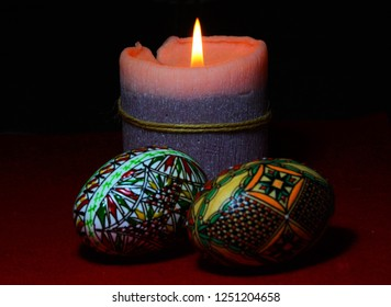 traditional arrangement for Easter with a candle and two eggs in Voronet - Romania 01.Dec.2018