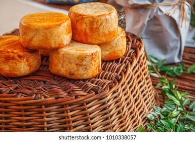 Traditional artisan spain cheese of goat and sheep.