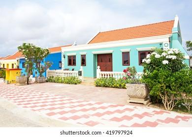 Traditional arubean house on Aruba island in the Caribbean