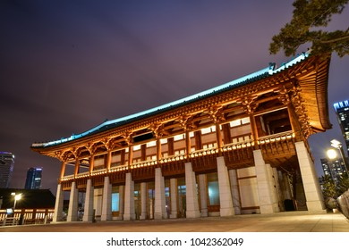 Traditional Asian building in the Lakewater Park, Incheon, Korea
