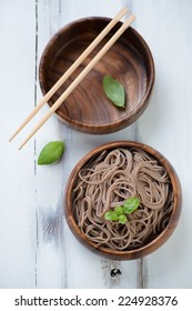 Traditional asian cuisine - noodles from buckwheat flour