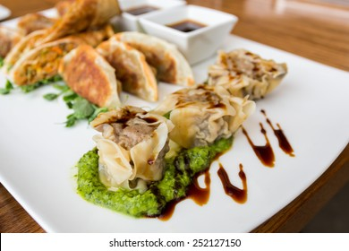 Traditional Asian cuisine, vegetable spring rolls, lamb potstickers, pork and shrimp in juicy steamed  dumpling