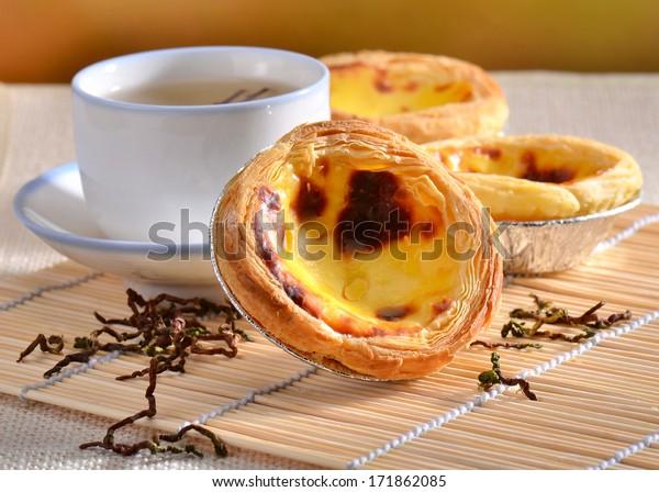 Traditional asian dessert egg tarts