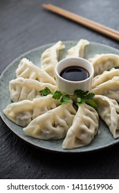 Traditional asian gyoza dumplings on the table