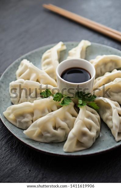 Traditional asian gyoza dumplings on the table