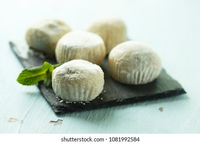 Traditional Asian mochi dessert with bean paste