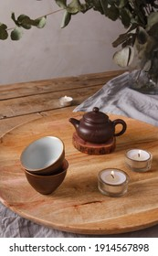 Traditional Asian Tea Set - ceramic teapot and teacups for tea ceremony on a wooden table. Vintage style. With space for text. China, tea, tableware, tradition, health, tea ceremony, Asia. - Shutterstock ID 1914567898