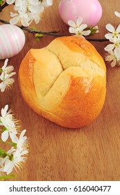 Traditional austrian easter pinze over wooden cutting board
