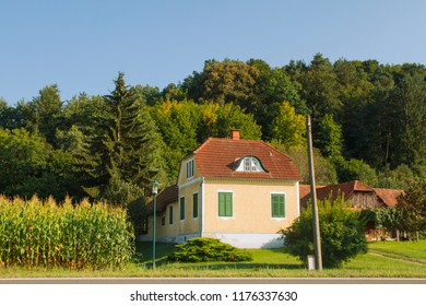 Traditional Austrian rural house with  and farm. Lower Austria. Burgenland. Central Europe.