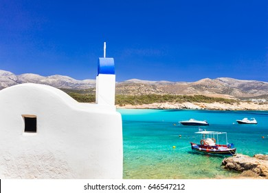 Traditional authentic Greece. Beautiful beach and church in Naxos