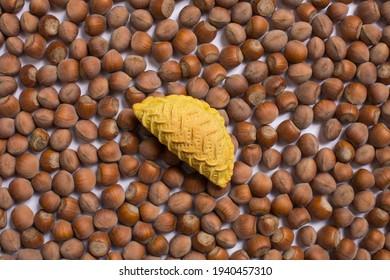 Traditional Azerbaijan dessert shekerbura on hazel nuts