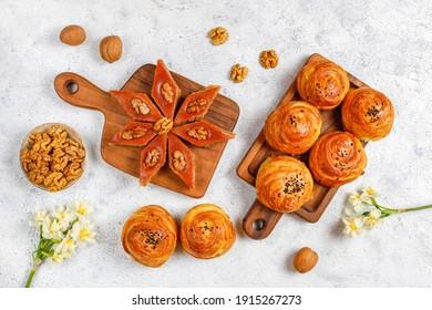Traditional Azerbaijan holiday Novruz cookies baklavas,qogals on the light background.