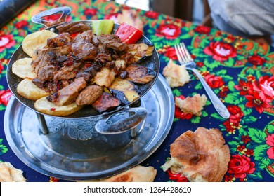 The traditional Azerbaijani meal - Saj. Lamb with vegetables