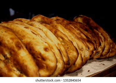 Traditional Azerbaijani tandoor bread baked in a clay oven called a tandoor and thin unleavened flatbread, called lavash