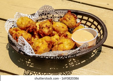 Traditional Bahamian conch fritters served
