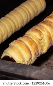 traditional baking Slovakia Czech Republic Latvia trdelnik spiral cone over open fire toasted, tradition Christmas fair