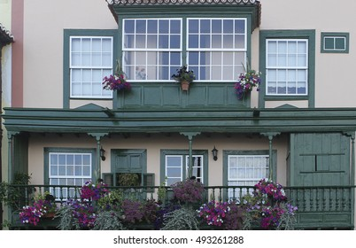 traditional balconies of the island of La Palma in the Canary Islands    Typical Canarian architecture, Canary Islands, Spain