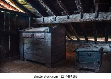 """Traditional bales for the harvest, at the """"Caserío"""", typical wooden house of the Basque Country"""