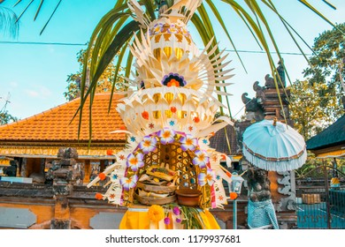 Traditional balinese decorated bamboo. Galungan celebration. Traditional Hindu holyday
