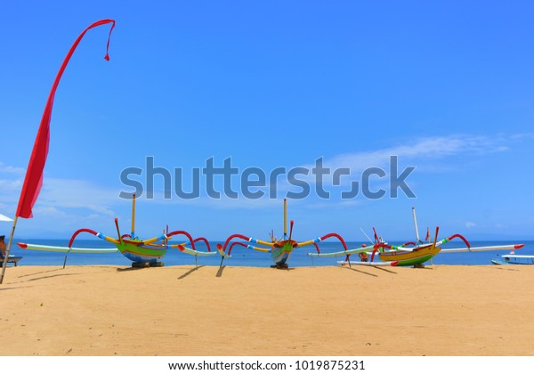 Traditional Balinese Fisher Boats at Sanur Beach, Bali, Indonesia