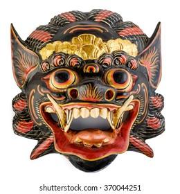Traditionelle balinesische Maske einzeln auf Weiß