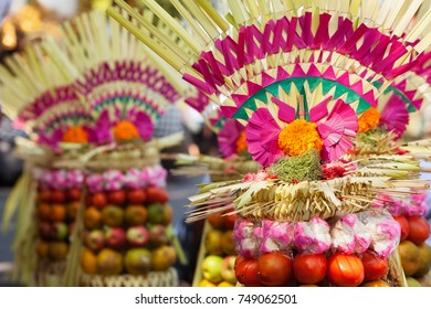 Traditional Balinese offering for gods, spirits of Bali island. Used at ceremonies on Galungan celebration, Melasti and silence day Nyepi. Holiday festivals, rituals, culture of Indonesian people.