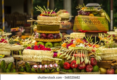 Traditional balinese offerings to gods used for religious ceremonies - Bali, Indonesia