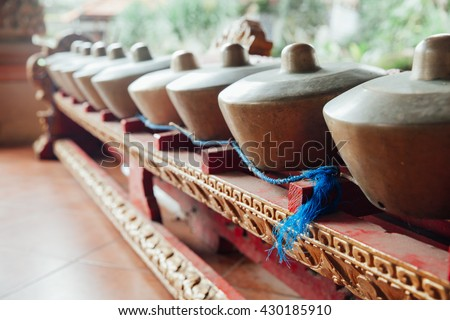 "Traditional balinese percussive music instruments instruments for ""Gamelan"" ensemble music, Ubud, Bali, Indonesia."