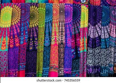Traditional balinese sarongs on the Ubud art market, Bali, Indonesia