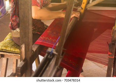 TRADITIONAL BALINESE WEAVING, BALI, INDONESIA -7th OCT 2016:-Traditional methods of making cloth on a hand loom