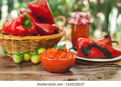 Traditional Balkan Ajvar,delicious dish served on table