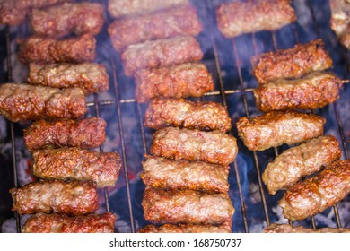 "Traditional Balkanian meet balls ""cevapcici"" on grill"